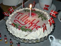 Typical birthday cake (Lagkage) - and very nice it is too - most likely to be served with hot chocolate and whipped cream on top...