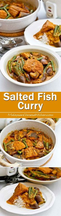This Salted Fish Curry is an adaptation of the Nyonya version using freshly salted fish instead of dried salted fish. It is just as delicious! Easy Asian Recipes, Fish Recipes, Seafood Recipes, Chinese Recipes, Drink Recipes, Malaysian Cuisine, Malaysian Food, Malaysian Recipes, Asian Kitchen