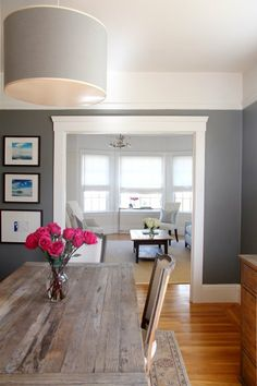 Sara's Serene & Sophisticated Home **Like wall color, table, chandelier, living room colors. Decor, House, Interior, Home Remodeling, Home Decor, House Interior, Living Room Grey, Room Colors, Grey Dining Room