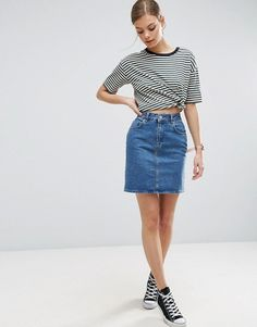 ASOS ASOS Denim Original High Waisted Skirt in Mid Wash Blue Found on my  new favorite app Dote Shopping