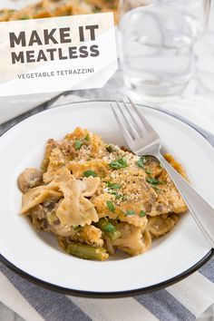 Vegetarian Tetrazzini. This was great! I used gouda instead of fontina to save money and wound up having to use green beans instead of asparagus because the asparagus at the store looked sad. Definitely will make again.