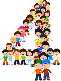 Little kids form number four   Premium Vector #Freepik #vector #background Alphabet Letters, Art Drawings Sketches, Vector Background, Letters And Numbers, Vector Free, Kids, Educational Quotes, Toys, Activities