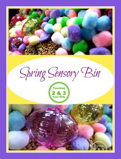 Fine motor activity for spring - sort pom poms by color and find the matching eggs. Great for toddlers and preschoolers at Easter! Teaching 2 and 3 Year Olds