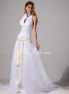 Amazing! A-Line/Princess Halter Court Train Organza Satin Wedding Dress With Sashes (002004777) - DressFirst