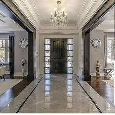 Mix of white and black/dark trim. - Likes, 16 Comments - Grace R ( - Dream House Foyer Design, Home Room Design, Decor Interior Design, Living Room Designs, Interior Decorating, Decorating Ideas, Decor Ideas, Foyer Flooring, Wood Flooring