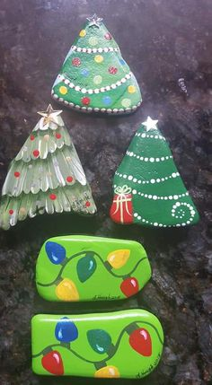 Christmas Trees and Light Strings. Painted stones.