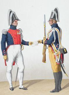 1830. Gendarmerie Royale des Départements. Colonel en tenue de societé, Gendarme à Pied en grande tenue.