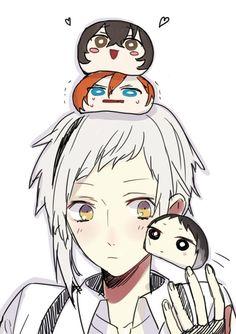 Bungou Stray Dogs    Atsushi, Dazai, Chuuya, and Akutagawa    Cute~