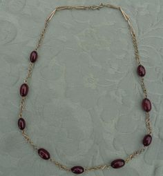 Antique Cherry Amber Bakelite Beads and Gold Coloured Wire Necklace 18 inches