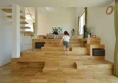 階段が棚・椅子・机に変化する家・間取り(千葉県木更津市) | 注文住宅なら建築設計事務所 フリーダムアーキテクツデザイン: