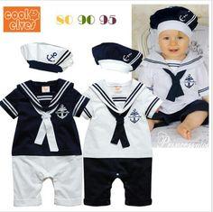 Barato 2015 nova moda de estilo bebê romper meninos macacão + chapéu de verão de manga curta terno de marinheiro, Compro Qualidade Macacão/Body diretamente de fornecedores da China: