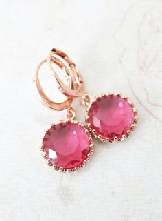 Rose Gold Ruby Red Glass drop Levered back Earrings - gifts for her, bridal pink rose gold weddings bridesmaid earrings jewelry, www.colormemissy.com
