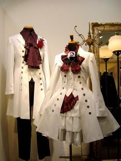 Atelier Boz summer 2015. The outfit on the right is a blouse (red), vest (white), miniskirt/overskirt (red), underskirt (white), and coat (white).