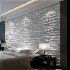 Modern WAVES Wall Panel Textured Glue On Wall Tiles   Box Of 6 Wall Art.  Paint Brown And Affix Wall Sconces?