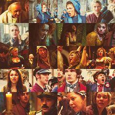 west end faces in the les mis film: colm wilkinson, clare foster, hannah waddingham, caroline sheen, alice fearn, gemma o'duffy, alexia khadime, frances ruffelle, kerry ellis, adam pearce, robyn north, dianne pilkington, samantha barks, chris milford, fra fee, killian donnelly, iwan lewis, hadley fraser, linzi hateley, gina beck <- impressive list!!