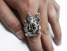 925 Sterling Silver  Ganesha ring All Size Style Heavy Biker Harley Rocker Men's Jewelry  (R-047)