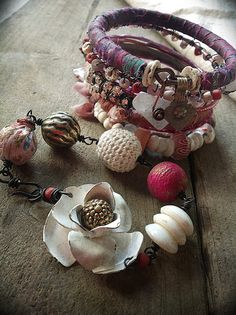 Bohemian gypsy bangle stack with kuchi wrapped silk by quisnam, $50.00