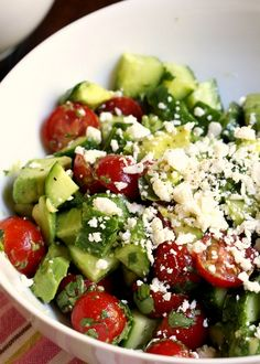 Cucumber Tomato and Avocado Salad. Refreshing, healthy, light and delicious!