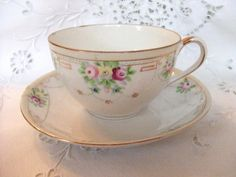 Nippon Teacup and Saucer  Roses  Floral  Pink