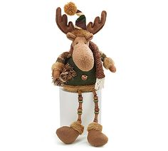 """#burtonandburton Brown Moose shelf sitter with camo material hat and sleeves, brown scarf around the neck holding a bundle of wood.  The long legs are made of buttons and button spools.  11"""" sitting, 19"""" tip of hat to tip of toe. 6"""" W x 6"""" D.  1 set of 4."""