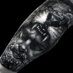 Greek God With Lion Head Realistic Mens Leg Tattoo Sleeve