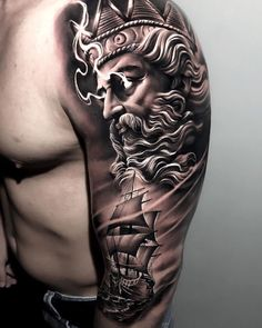 cross tattoos for men on arm - Tattoo Arm Sleeve Tattoos, Leg Tattoo Men, Tattoo Sleeve Designs, Arm Tattoos For Guys, Trendy Tattoos, Warrior Tattoo Sleeve, Ship Tattoo Sleeves, Viking Tattoos For Men, Tattoo Arm