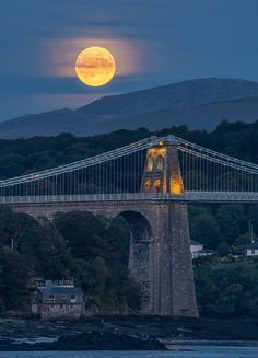 'Harvest Moon Over Menai Bridge'