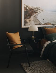This expert reveals the perfect colour palette for a moody bedroom - Cushions Bedroom Colour Palette, Bedroom Color Schemes, Bedroom Colors, Bedroom Decor, Green Bedding, Bedroom Green, Master Bedroom, Charcoal Bedroom, Interior Styling