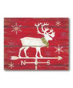 Look at this #zulilyfind! Red Reindeer Wrapped Canvas #zulilyfinds