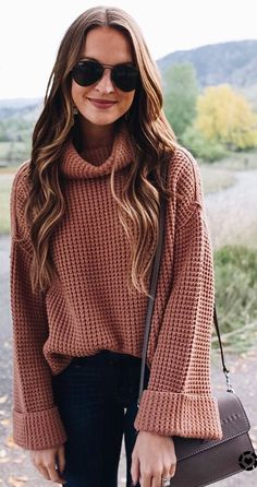 #fall #outfits pastel sweater dark jeans brown bag