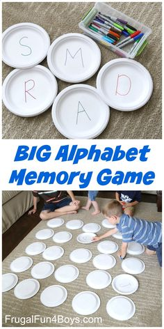 Paper Plate BIG Alphabet Memory Game - Frugal Fun For Boys and Girls - Literacy - Alphabet Memory Game for kids! A great way for preschool and toddlers to work on alphabet recogniti - Abc Activities, Preschool Games, Math Games, Alphabet Activities For Preschoolers, Kindergarten Letter Activities, Fun Games, Literacy Games, Classroom Games, Indoor Activities For Kids
