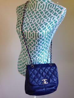 6a5a340ea3a8a Details about Auth NWT Chanel Trianon Cross body bag messanger tote Dark  Blue soft lambskin
