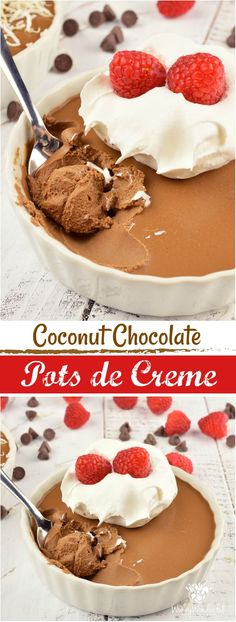 This Coconut Chocolate Pots de Creme Recipe is an elegant yet simple dessert. Perfect for the holidays, Valentine's Day or to satisfy an extreme chocolate craving! Made with just 5 ingredients, dairy-free and minimal effort, this creamy chocolate treat will be a show-stopper! AD #chocolate #dairyfree #dessert #easydessert #holidaydessert #valentinesdaydessert