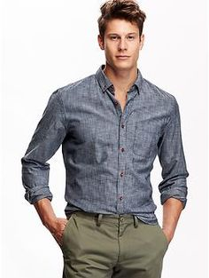 Slim-Fit Chambray Shirt | Old Navy