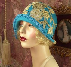 1920'S VINTAGE TURQUOISE CORDED BEADED LACE FLOWER FEATHER CLOCHE FLAPPER HAT | Clothing, Shoes & Accessories, Women's Accessories, Hats | eBay!