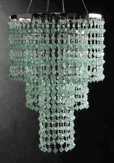 """Crystal Chandeliers Mint Green 3 Tier (16"""" long)"""