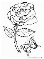 Mewarnai Gambar Bunga Mawar Dan Kupu-Kupu