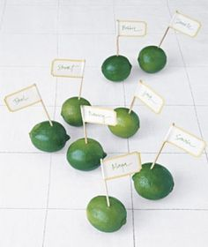 Use limes or lemons for place card holders...lots of good ideas at TwoChums.com