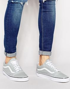 9106aacc3e Vans   Gray   White Vans Old School Shoes