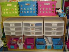 clear drawers for math manipulative storage.  easy to label, super easy to pull out a drawer for use.  hmmm...
