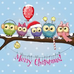 Illustration about Greeting Christmas card Five Owls on a branch with balloon. Illustration of drawing, painting, design - 63096872 Christmas Design, Simple Christmas, Christmas Art, Christmas Greetings, Winter Christmas, Christmas Drawing, Christmas Animals, Owl Wallpaper, Owl Vector