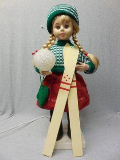 Animated Telco Christmas SKI GIRL w/ Snowball Light & Skis ~ d78