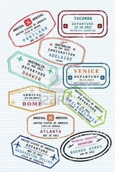 Passport stamps design - for reference Passport Template, Passport Stamps, Luggage Stickers, Luggage Labels, Travel Stamp, Thinking Day, Tampons, Tattoos With Meaning, Business Travel