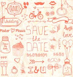 Wedding doodle designs vector - by Favete on VectorStock®