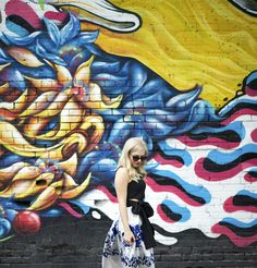 chicwish outfit, colorful mural, oklahoma city