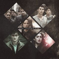 """We all have a war inside of us."" Harry Potter, Clary Fray the mortal instruments, katniss everdeen the girl on fire, thomas the maze runner, tris and tobias divergent"
