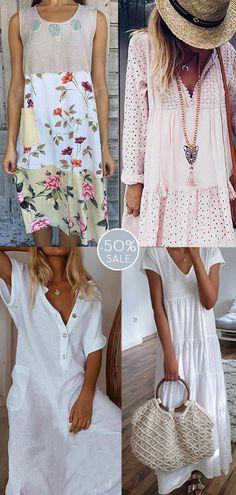 Womens casual white dress now OFF. Casual Dresses, Casual Outfits, Summer Dresses, Beach Outfits, Modest Dresses, Daily Dress Me, Boho Fashion, Fashion Dresses, Fashion Tips