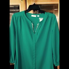 NWT New York & Company Blouse Brand new blouse, tried on but never worn.  Color in picture looks kind of blue but it is a Beautiful emerald green color. New York & Company Tops Blouses