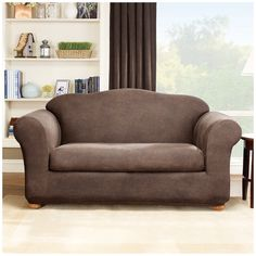 Sure Fit Stretch Leather 2 Piece Loveseat Slipcover Brown House