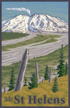 Mount St Helens by Mitch Frey, via Behance volcano, Cascade Range, Northwest, Washington, poster, WPA, National Park, ash, Eruption, mountain, vintage, retro